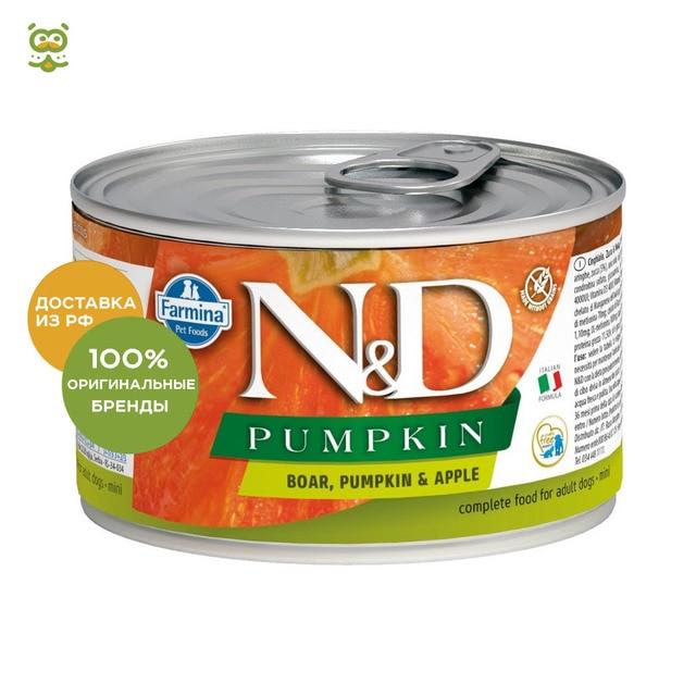 N&D Dog Prime Adult Mini консервы для взрослых собак мелких пород, Кабан и яблоко, 140 г.