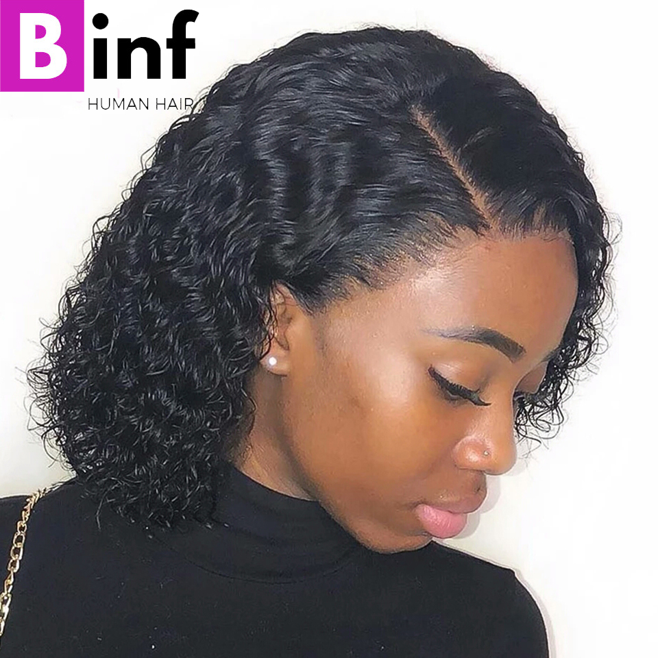 Curly Human Hair Wig Brazilian Short Bob Lace Front Wigs For Black Women Healthy And Thick