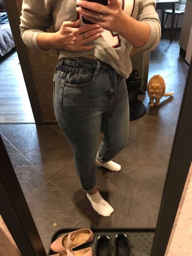Harem Jeans Women Plus Size Elastic High Waist Cool Denim Pant Trousers Chic Mom Loose Jean Pants Retro photo review