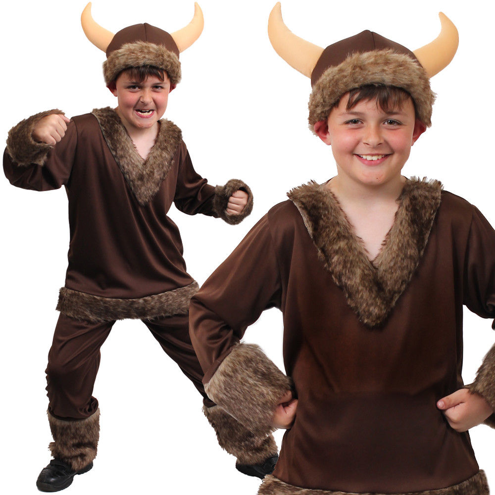 Viking Warrior Boys Costume Kids Fancy Dress School Book Week Outfit Historical