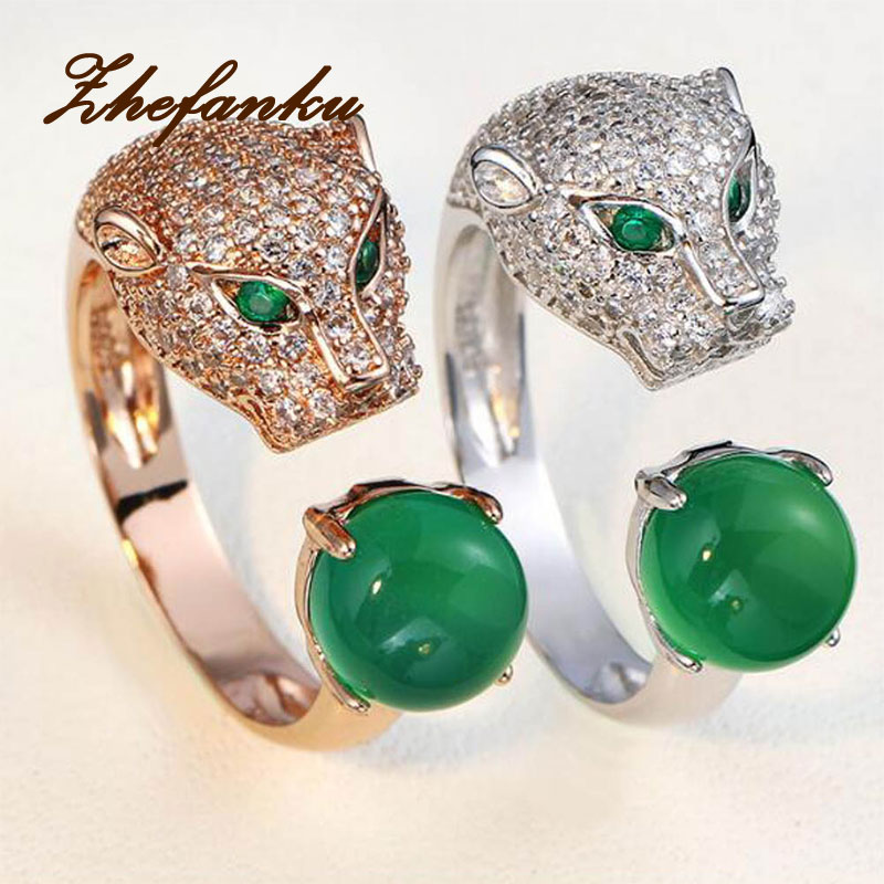 Hot Sale Leopard Head Rings Silver Color Fashion Jewelry Animal Blue Crystal Men Wedding Ring For Women