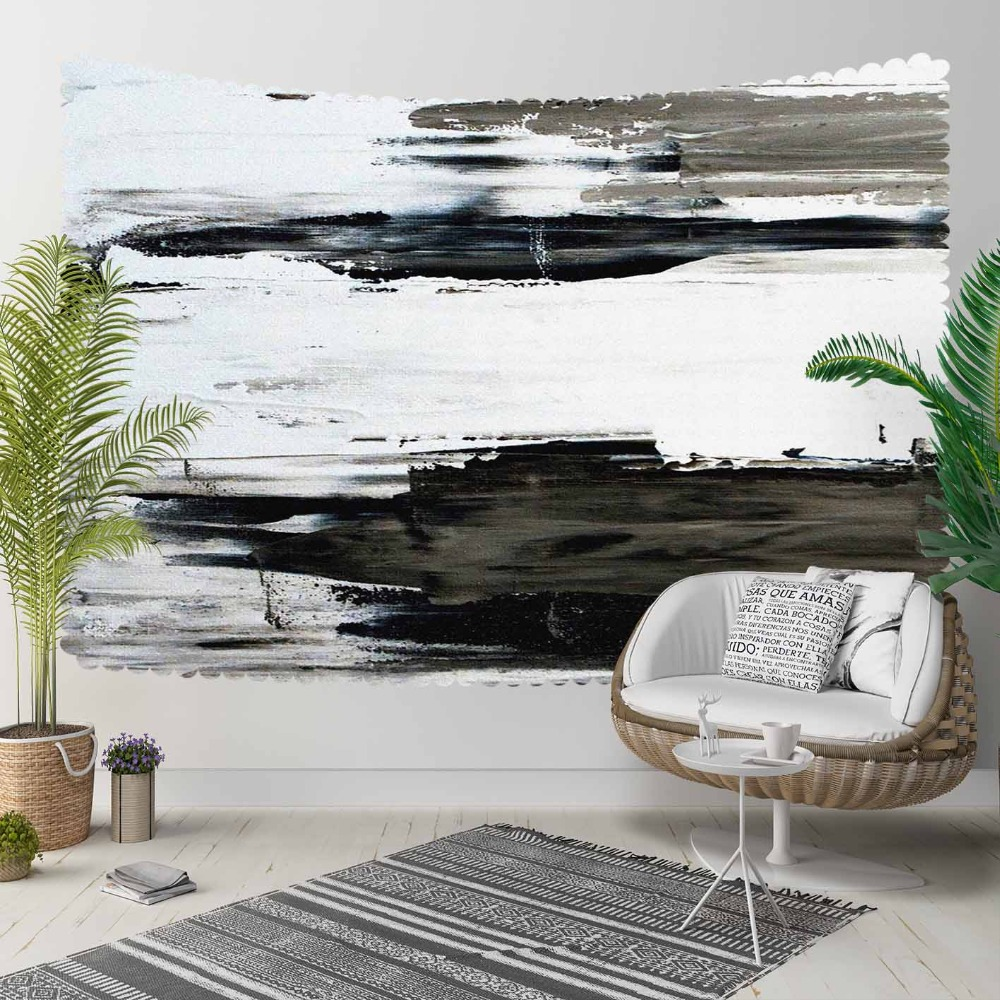 Else Black Gray White Watercolor Paint Nordec Modern 3D Print Decorative Hippi Bohemian Wall Hanging Landscape Tapestry Wall Art