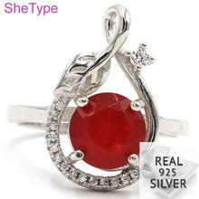 US 7# 3.6g Real 925 Solid Sterling Silver Leaf Red Ruby White CZ Gift For Girls Rings 20x12mm