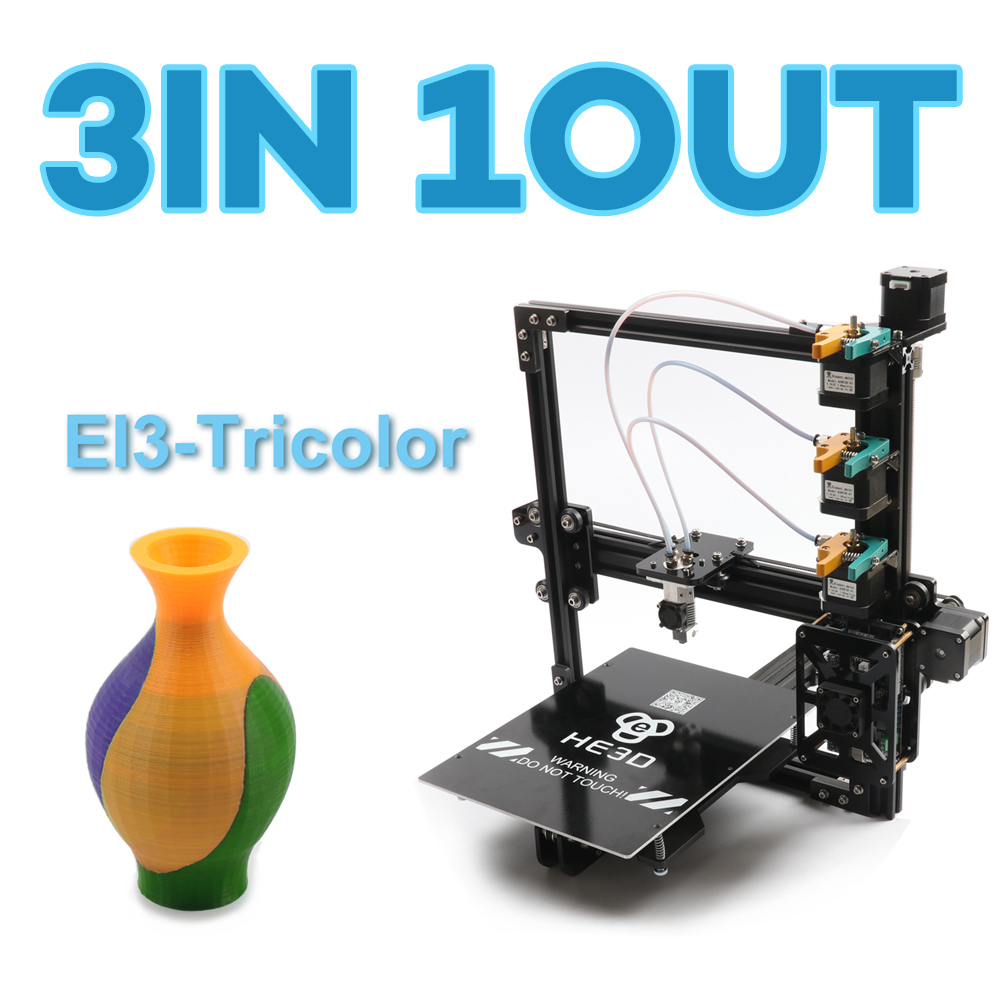 HE3D tres extruder_automatic level_large tamaño 200*280*200mm reprap EI3 tricolor de 3D impresora