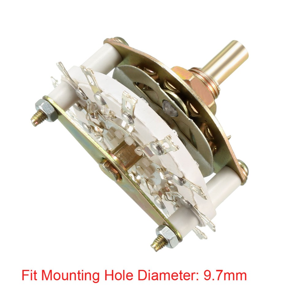 UXCELL 1/2/3 Pole 3/9/10 Position Switch 6 Throw 1/2 Deck Band Channel Rotary Switch Selector Used on Radio TV Control Unit 1PCS