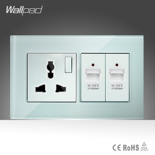 10A Universal Socket and Double UBS Socket Wallpad 146*86mm White Glass 2 USB Ports and Universal Socket Free Shipping free shipping 120 models 120pcs usb socket 2 0