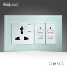 10A Universal Socket and Double UBS Socket Wallpad 146*86mm White Glass 2 USB Ports and Universal Socket Free Shipping