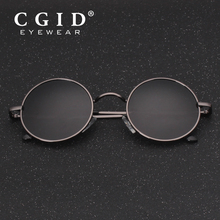 CGID 2018 Round Lennon Sunglasses Polarized Retro Vintage Inspired Metal Circle Black Sun glasses for Men