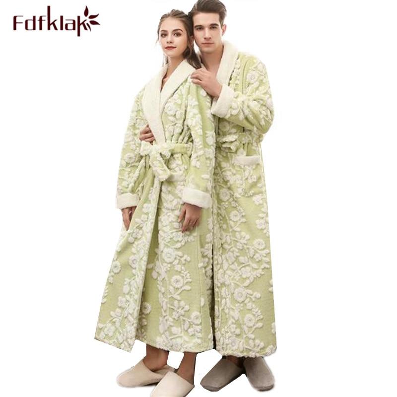 Fdfklak New Winter bathrobe men thicken flannel robe women plus size sleepwear robes couple's bath robe peignoir femme M-3XL