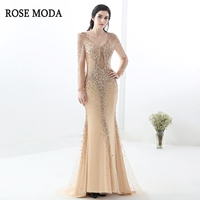 Rose Moda Long Sleeves Evening Dresses 2018 Silver Navy Gold Crystal Mermaid Formal Evening Dress Long