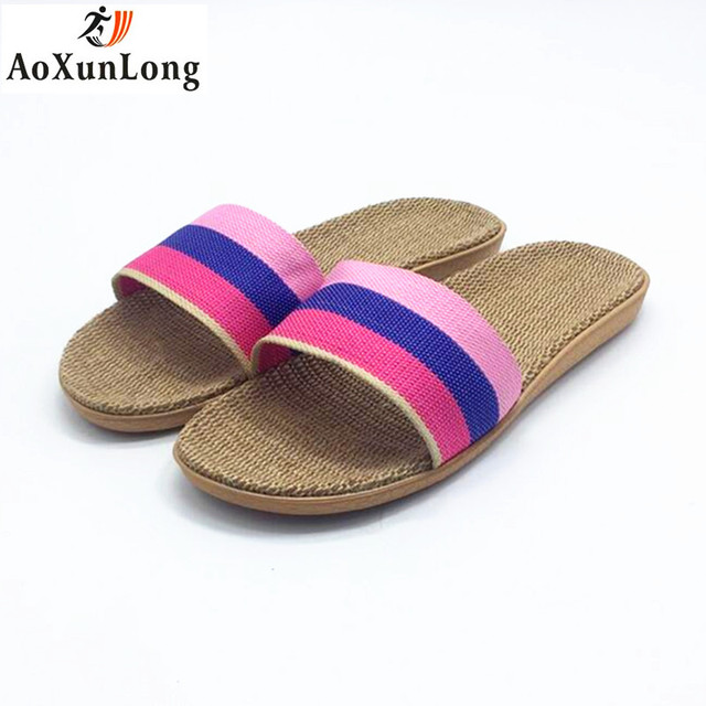 982eeb39b Summer Flip Flop Women Linen Weave Flat Home Slippers Spring Slide Shoes  Woman 36-40