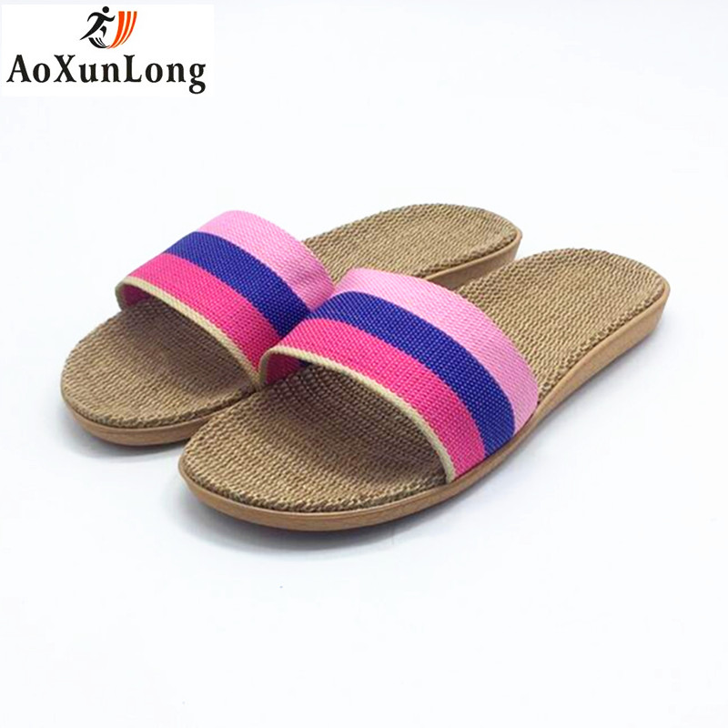 Summer Flip Flop Women Linen Weave Flat Home Slippers Spring Slide Shoes Woman 36-40 Slippers Women Sandals Pink Casual Shoes