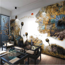 Ink Lotus Golden TV Sofa Background Wall Professional Production Mural Factory Wholesale Wallpaper Mural Poster Photo Wall(China)