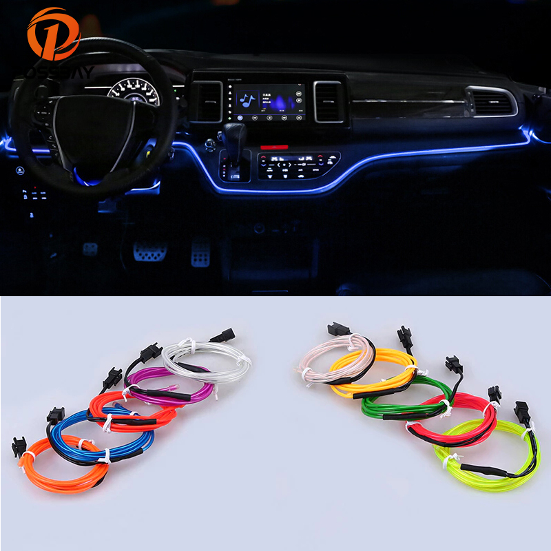 POSSBAY 2M LED Decor Flexible Neon Light Glow EL Strip Tube Wire Rope Indoor Decoration Car Truck Party Atmosphere Lamps
