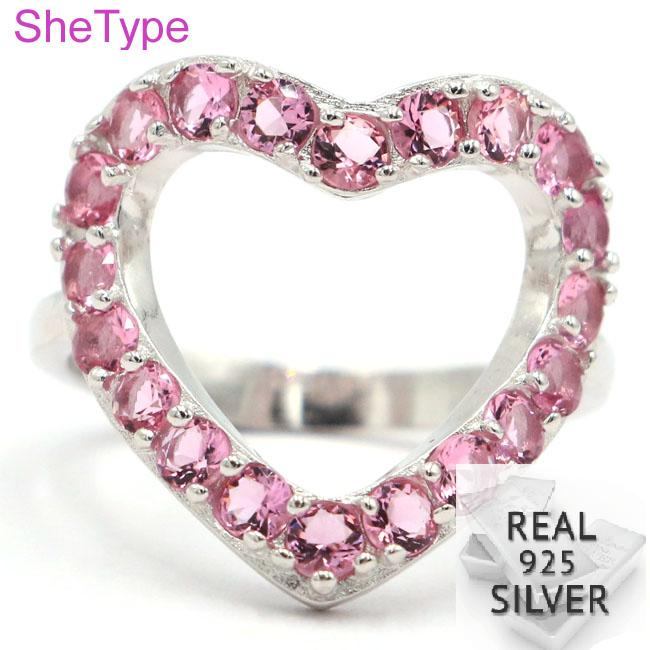 SheType Elegant 3.43g Heart Shape Pink Tourmaline Gift For Sister Real 925 Solid Sterling Silver Rings 20x18mm