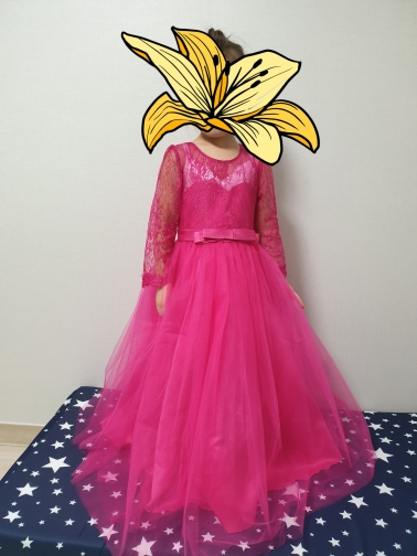 цветок платье с длинным; декор цветок; детское платье день рождения ;