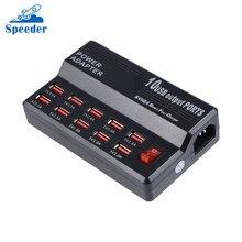 10 Uscite USB Fast Charger Adattatore di Alimentazione Con Cavo di Alimentazione Separato Supporta 1-10 Dispositivi USB Contemporaneamente lo Ricarica