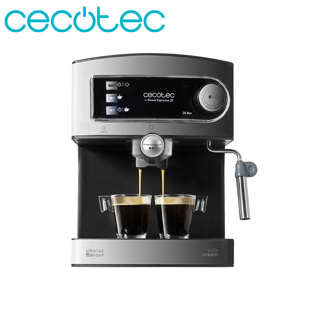 Cecotec Espresso Coffee Machine Pressure 20 Bars Coffee with Double Exit Adjustable Vaporizer for Foamy Milk Easy Clean