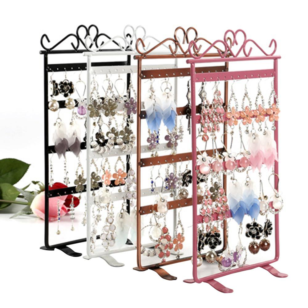 72 Holes Iron Jewelry Display Holder Earrings Rack Necklace Bracelet Stand UK