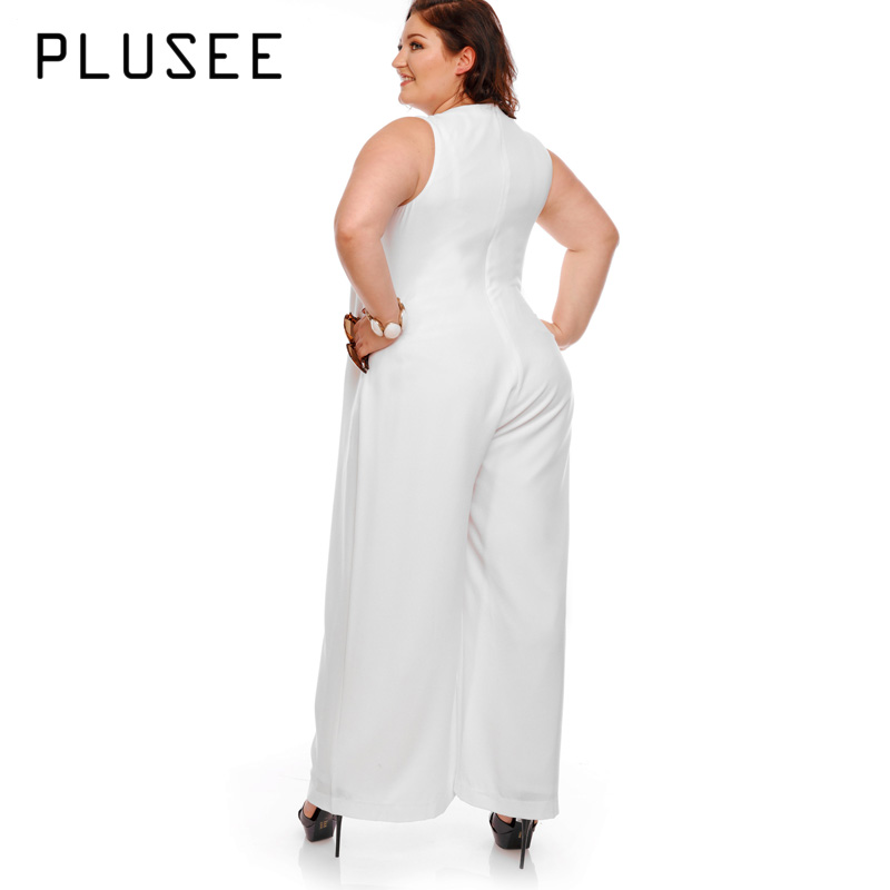 9f1392b8fc0 Plusee Big Size Wide Leg White Jumpsuit V Neck Sleeveless Women Jumpsuits  2017 OL Elegant Empire Summer Jumpsuit Plus Size-in Jumpsuits from Women s  ...