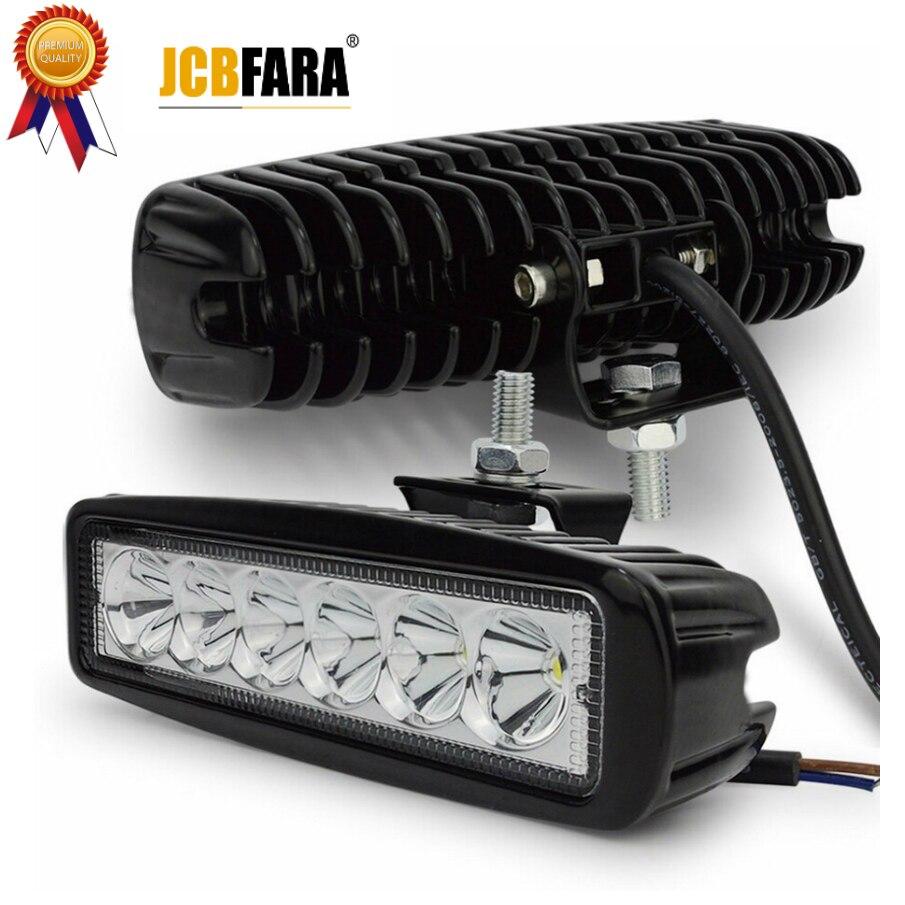 2 piezas 18 W DRL LED luz de trabajo 10-30 V 4WD 12 V para fuera de carretera del autobús del camión barco de la luz de niebla de la luz del coche de la Asamblea ATV luz diurna