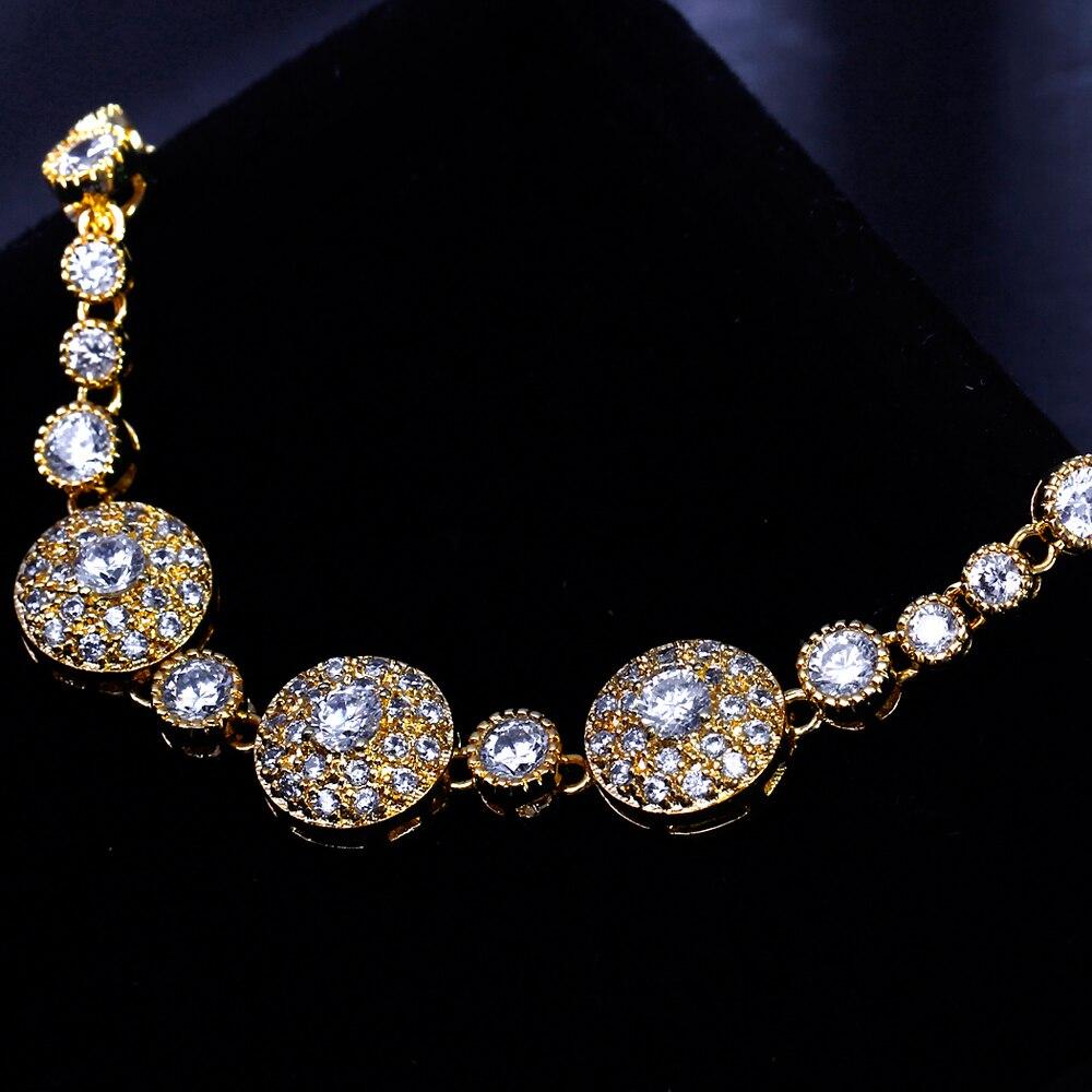DreamCarnival1989 nouveau luxe élégant Imitation perles cubique zircone couleur or collier ensemble de bijoux de mariée pour les femmes SN02436S4G - 3