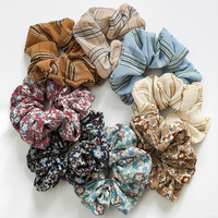 Vintage Scrunchies Cute Rubber Hair Ties Elastic Hair Bands Floral Ponytail Holder Classic Plaid Scrunchy Women Hair Accessories
