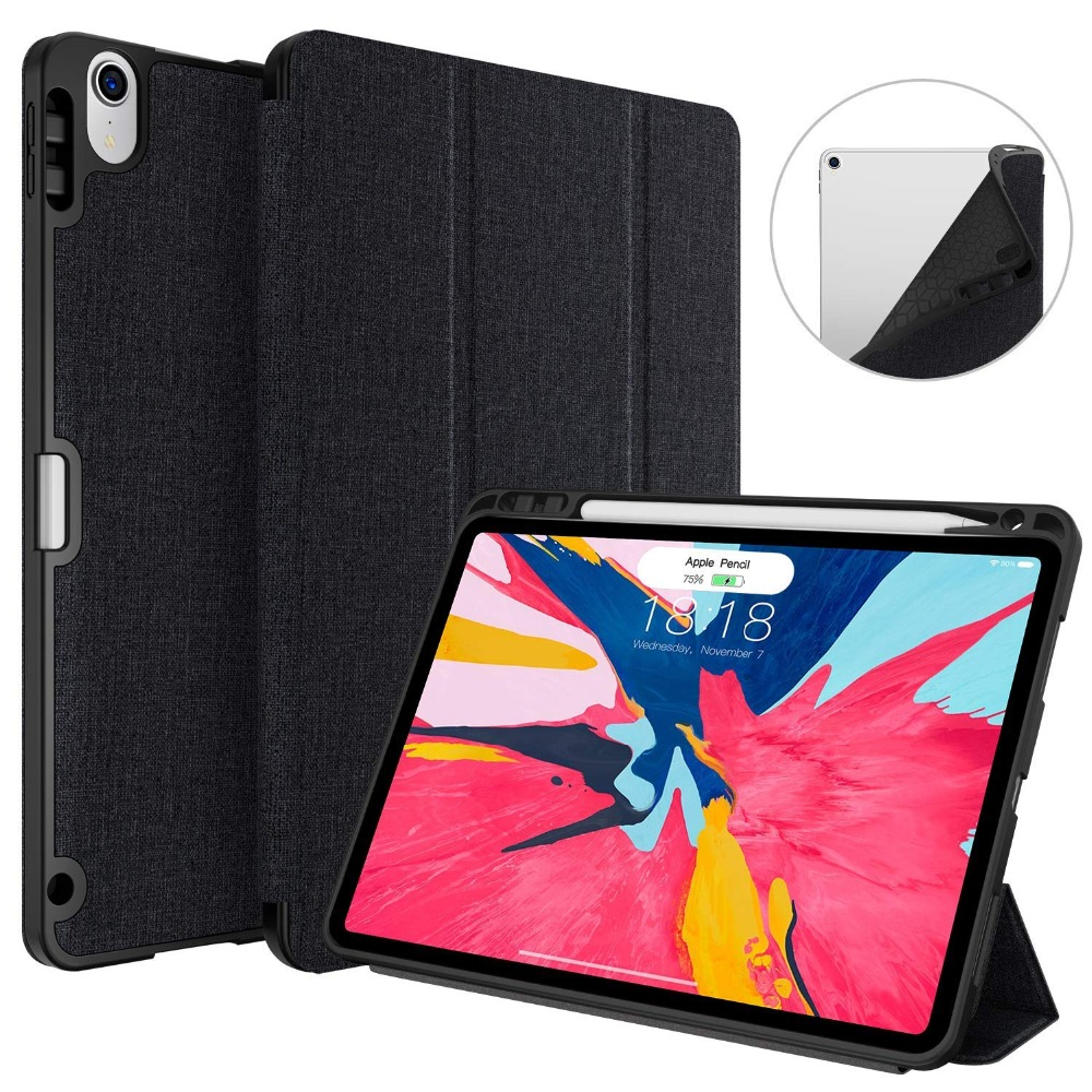 Case For iPad Pro 12.9 2019 With Pencil Holder PU Leather Front Cover + Silicone Soft Back Smart Case For New iPad Pro 12.9 inch