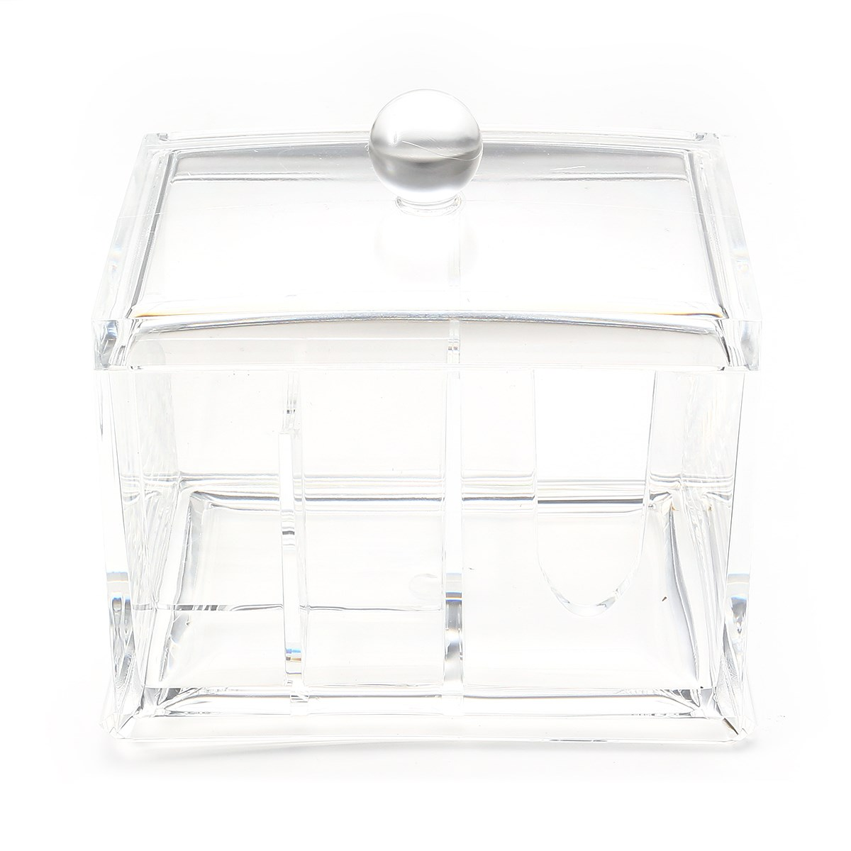 Aliexpress.com : Buy Clear Acrylic Cosmetics Organizer Box Nail Polish  Lipstick Makeup Cotton Pad Storage Boxes Swabs Stick Q tip Holder With  Cover from ...