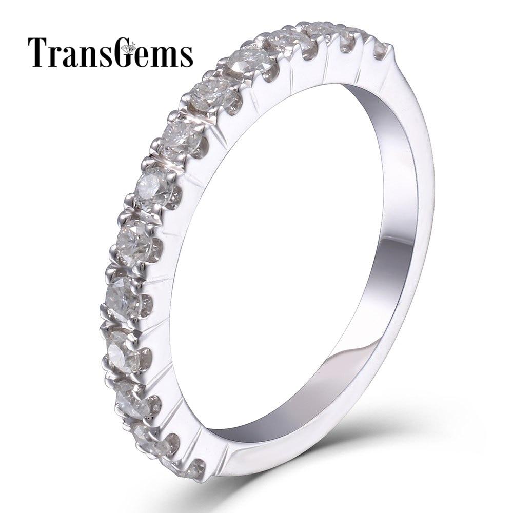 TransGems Moissanite Wedding Band Platinum Plated Sterling Silver 2MM Moissanite Clarity VVS1 2 for Women Stackable