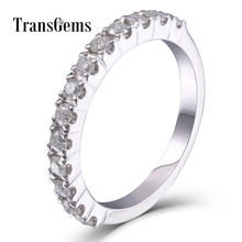 TransGems Moissanite Wedding Band Platinum Plated Sterling Silver 2MM Clarity VVS1-2 for Women Stackable Ring