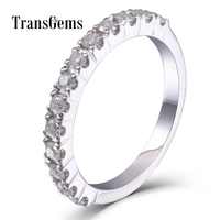 TransGems Moissanite Wedding Band Platinum Plated Sterling Silver 2MM Moissanite Clarity VVS1 2 for Women Stackable Ring