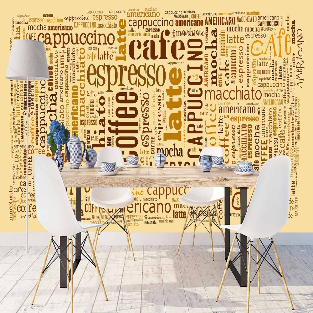 Else Yellow Floor Brown Coffee Cappucino Writen 3d Print Photo Cleanable Fabric Mural Home Decor Kitchen Background Wallpaper