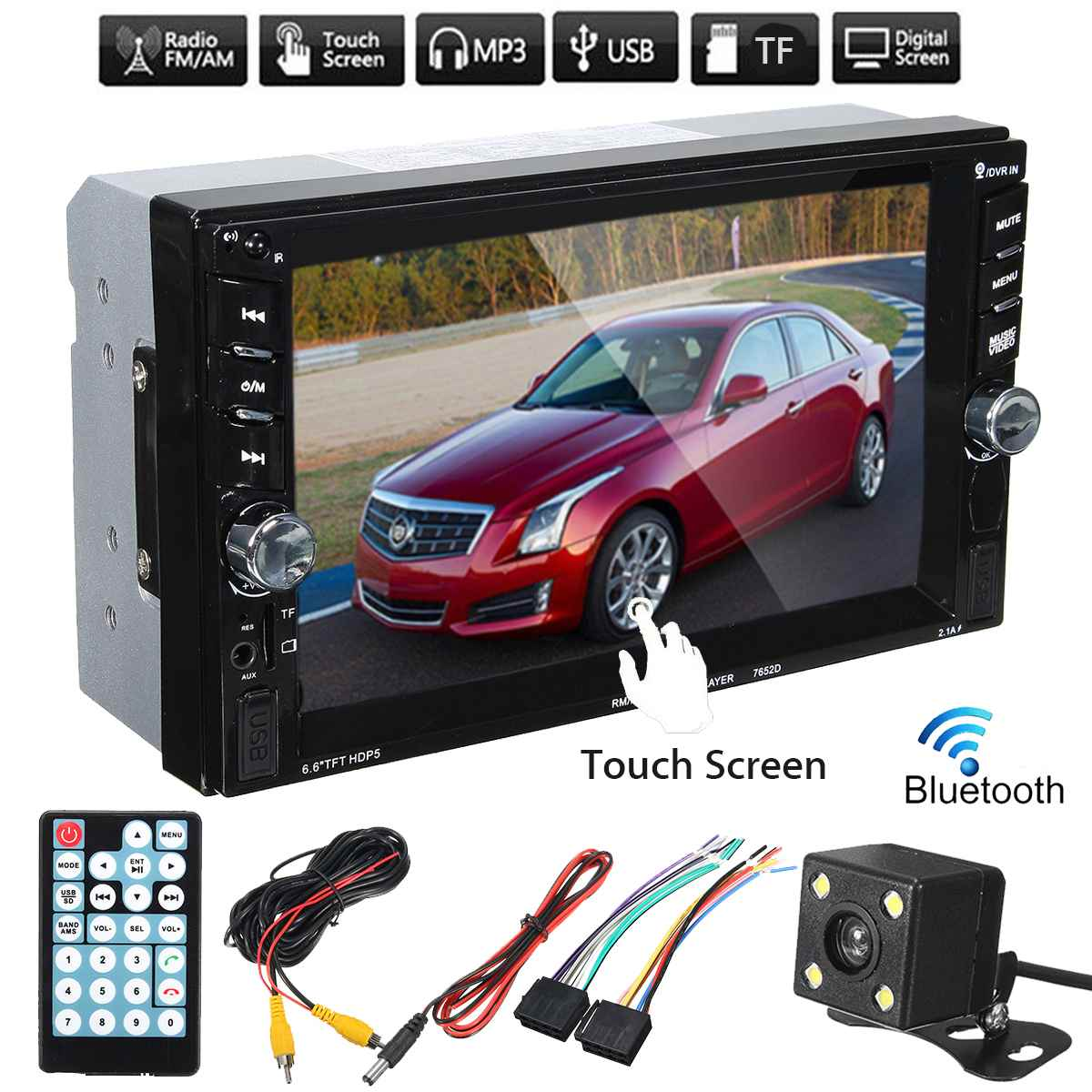6.6 Inch 2 Din Car Radio Player HD Touch Screen Bluetooth Stereo MP5 Player Rear View Camera FM/USB/TF/AUX IN Russian