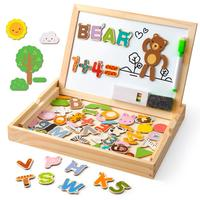 D FantiX Wooden Magnetic Letters Numbers Animals with Easel Board Alphabet 123 ABC Set Jigsaw Puzzle Travel Games Learning Toys