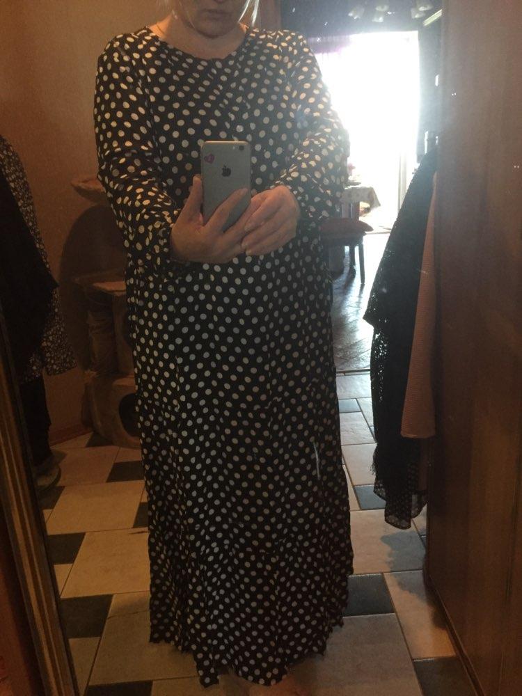 Korean Fashion Polka Dot Print Vintage Dress Women Maxi Long Dress Ruffle Long Sleeve Gowns Beach Boho Dresses Plus Size 5Xl 3Xl photo review