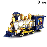 Kids Toy Christmas Steam Train Classical Simulation Of Train Track Toys Smoking Lights Music Electric Toys