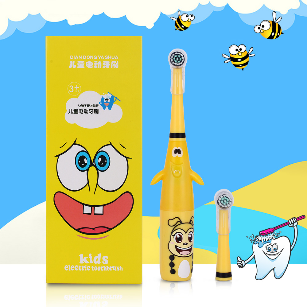 AZDENT 3D Kids Rotating Electric Toothbrush Cartoon Pattern For Children Rotary Tooth Brush With 2 Replacement Heads Waterproof