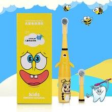 AZDENT 3D Kids elektryczna obrotowa szczoteczka do zębów Cartoon wzór dla dzieci obrotowa szczotka do zębów z 2 końcówki zamienne wodoodporne
