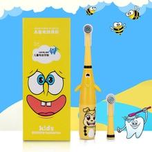 Azdent 3d crianças rotativa escova de dentes elétrica padrão dos desenhos animados para crianças escova de dentes rotativa com 2 cabeças substituição à prova dwaterproof água