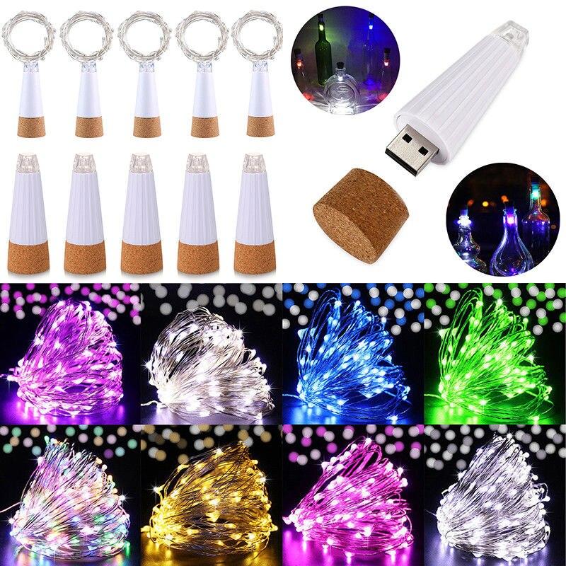 1.5M 15LED 3 Colors Garland Bottle String Lights LED Cork Shape Light USB Charging Fairy Lights Christmas Decorations For Home
