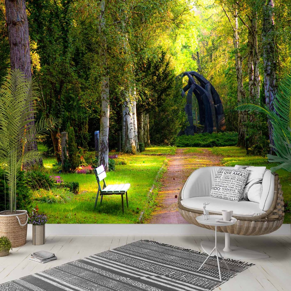 Else Green Jungle Forest Park Road Walk Way 3d Photo Cleanable Fabric Mural Home Decor Living Room Bedroom Background Wallpaper