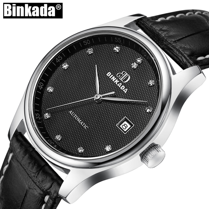 BINKADA Automatic Mechanical Watches Men Luxury Brand Steel Leather Watch Mechanical Self-Wind Mens Wristwatches reloj hombre 2017 new fashion men binkada top brand gold luxury wristwatches self wind automatic mechanical calendar leather watch clock