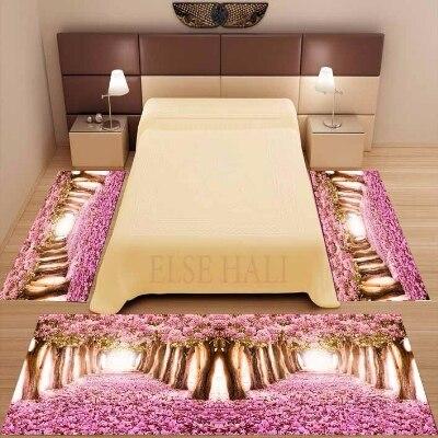 Else 3 Piece Pink Trees Leaves Love Road Way 3d Print Non Slip Microfiber Washable Decor Bedroom Area Rug Carpet Set
