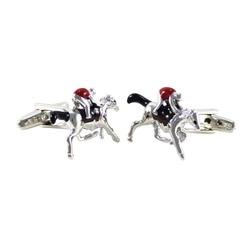 Horse Head Pair Cufflinks Race Jockey Derby Wedding Gift Box /& Polishing Cloth