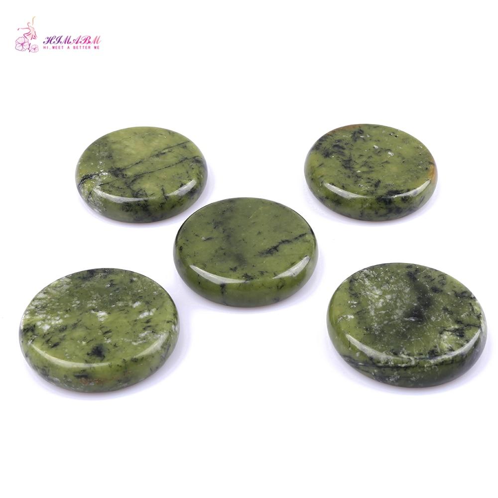 HIMABM 5 Pieces Natural Green Xiuyan Jade Hot Spa Basalt Stone Massage Basalt Stone Lava Rocks 80*80*20mm wholesale