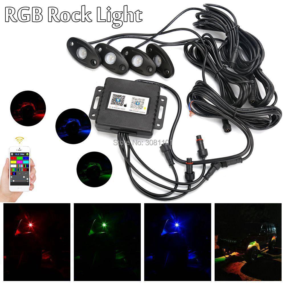 4 pod/set RGB LED Rock Light Black/White Housing Offroad Driving Light for Toyota Jeep Wrangler Cherokee Boat Truck SUV