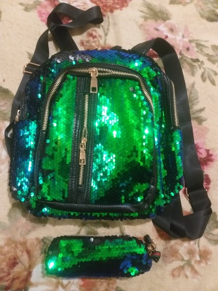 2pcs/1pc New Sequins Backpack New Teenage Girls Fashion Bling Rucksack Students School Bag with Pencil Case Clutch Mochilas photo review