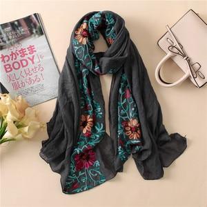 Image 4 - L12 di Alta qualità del fiore del ricamo hijab dello scialle della sciarpa delle donne dello scialle lungo musulmano dellinvolucro della fascia di 180*80cm 10 pz/lotto