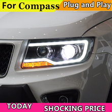 купить Car Styling Headlights for JEEP Compass 2011-2015 LED Headlight for Compass Head Lamp LED Daytime Running Light Bi-Xenon HID по цене 35431.37 рублей
